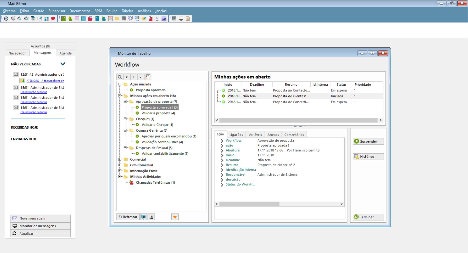 Dashboard de gestão e controlo de tarefas