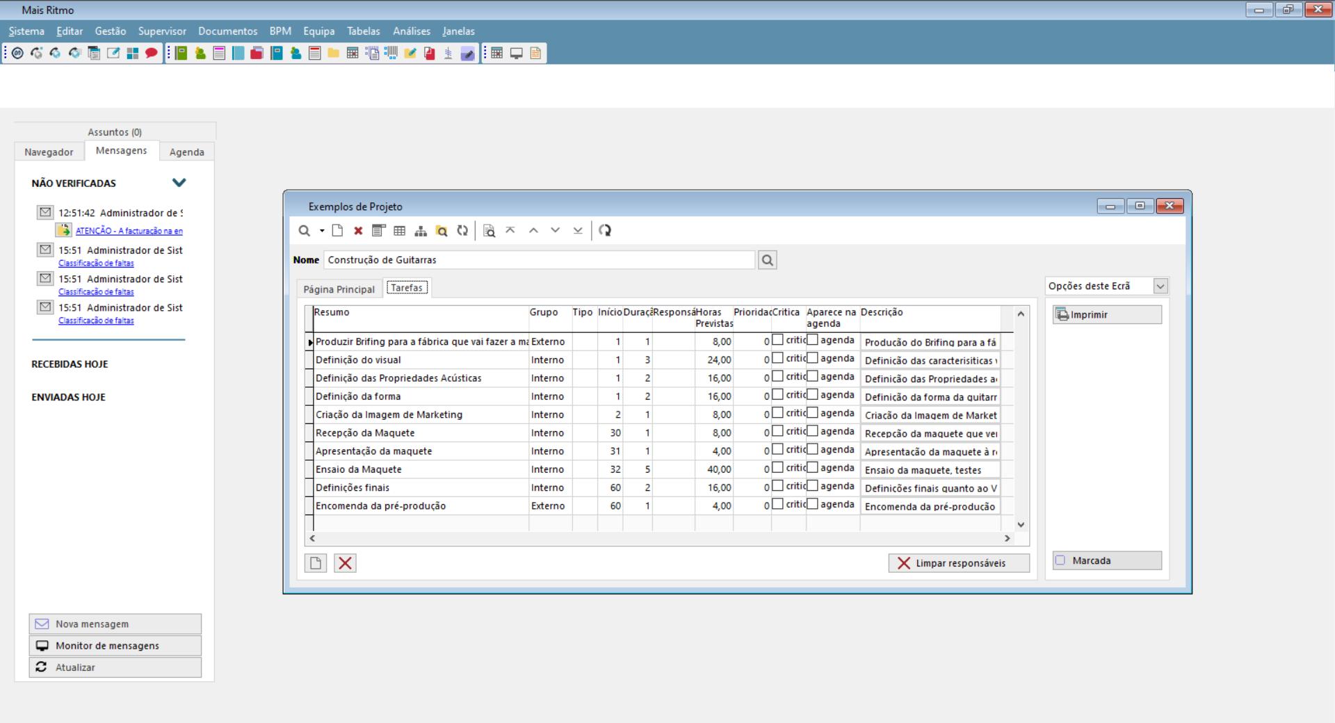 Dashboarde de gestão de projetos
