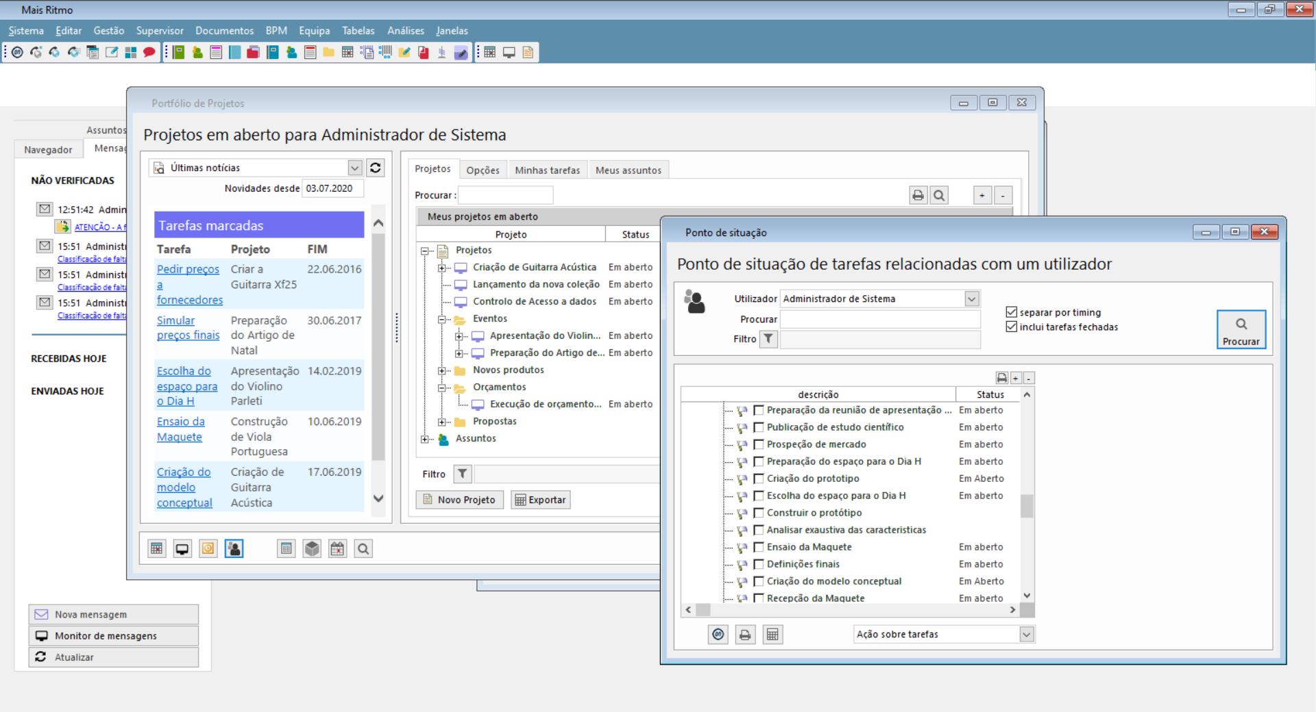 Funções globais de software de gestão de equipas