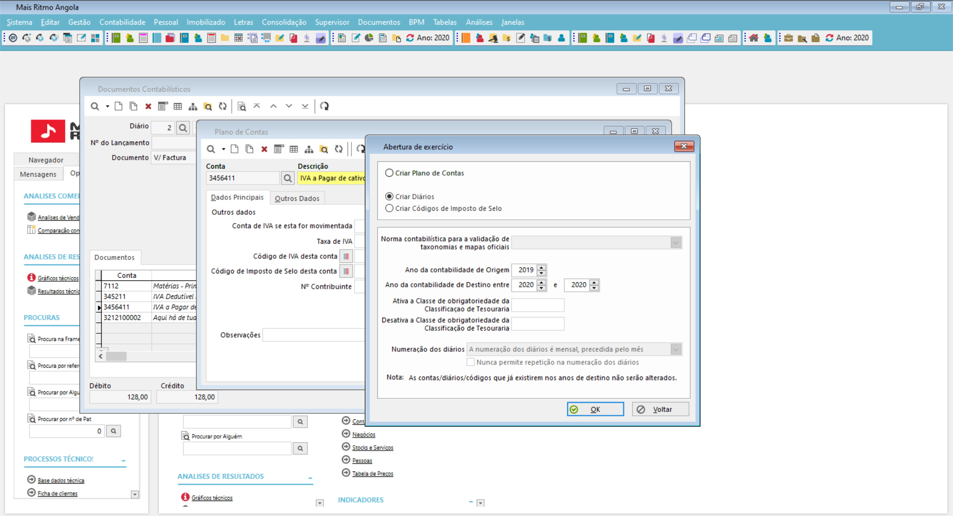 Funcionalidades gerais de contabilidade do software de gestão financeira