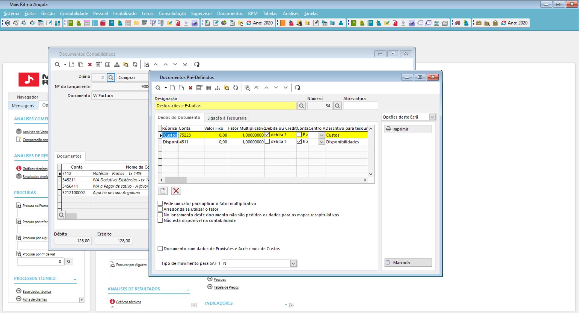 Funcionalidades operacionais de contabilidade do software de gestão financeira