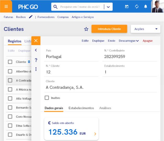 Screenshot do Software de Gestão Online PHC GO