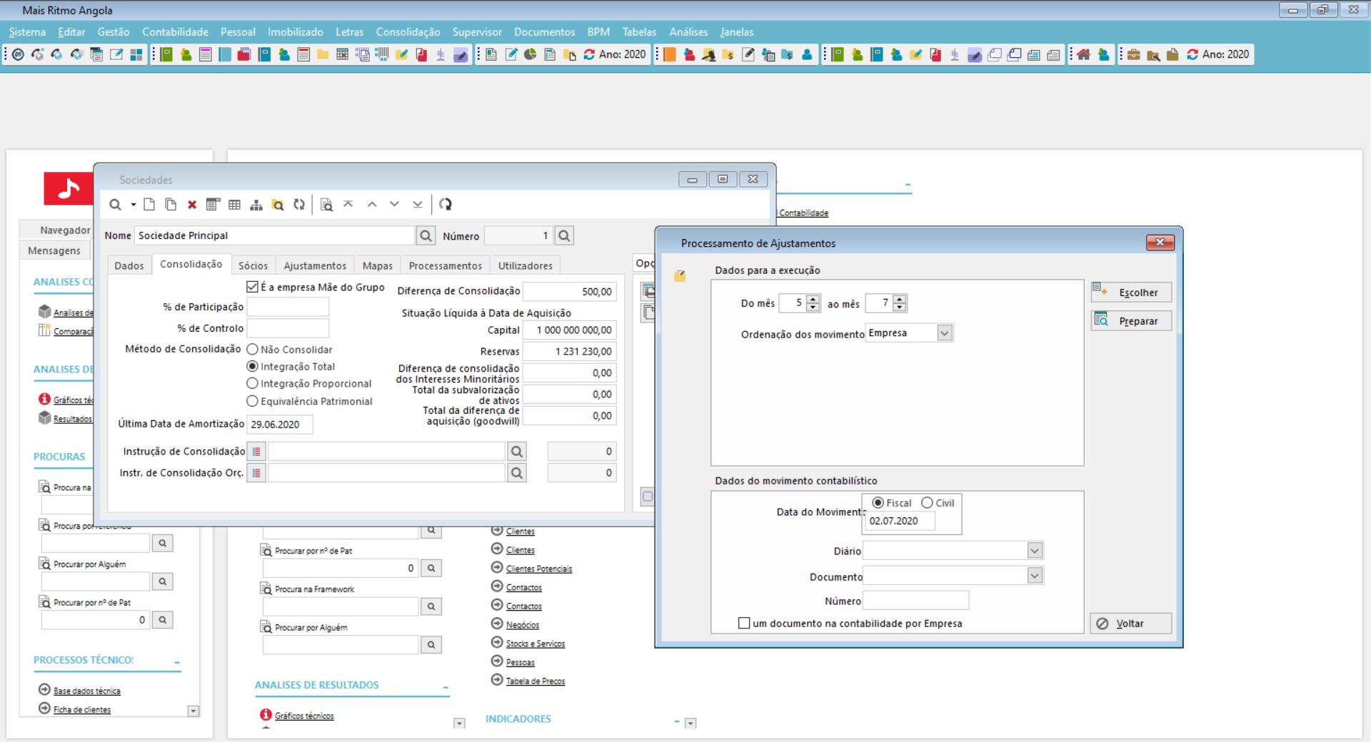 dashboard de gestão da consolidação de dados