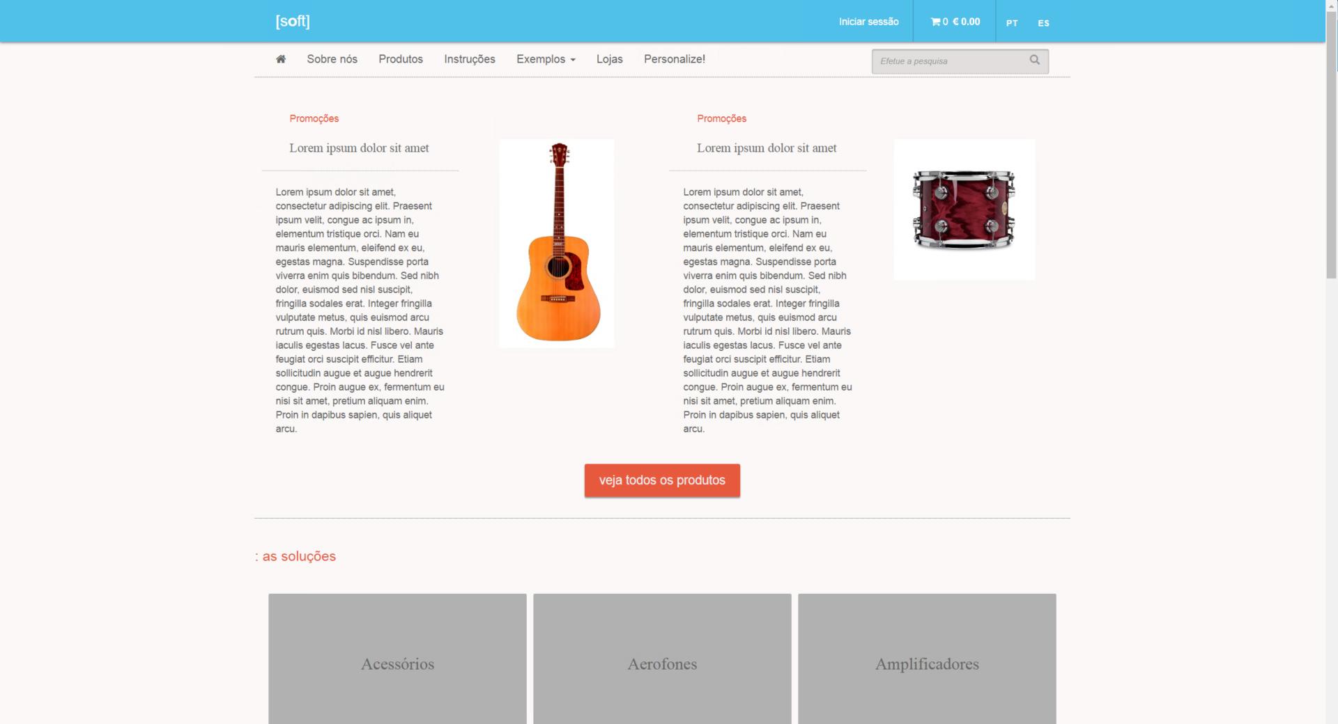 guitarra e tambor exposto em site