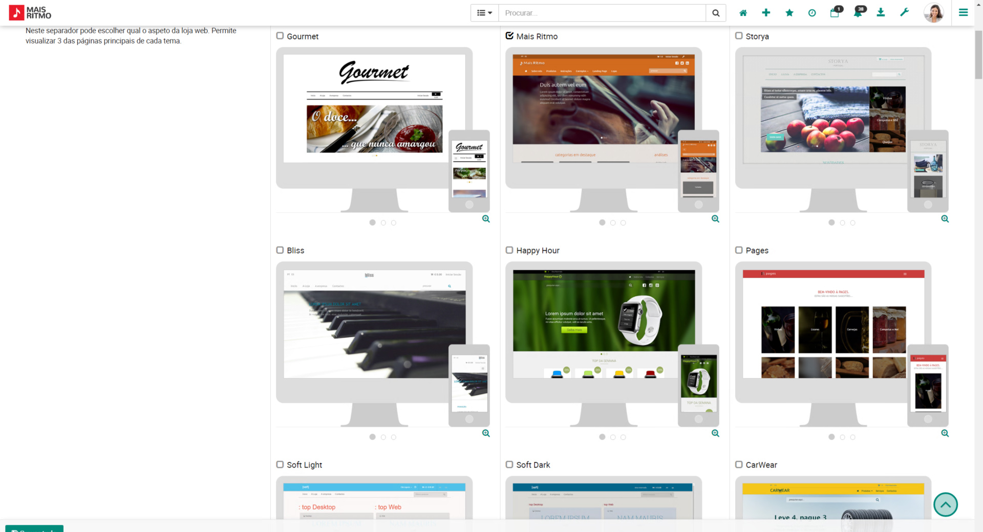 layouts loja online