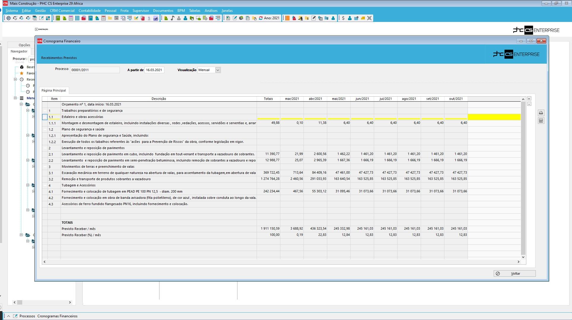 dashboard de controlo e gestão de construção civil