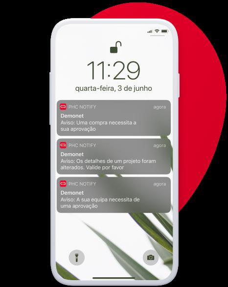 Screenshot de um dispositivo míovel com a app PHC Notify